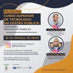 """Read more about the article CRA-TO participa de Live com tema """"Curso Superior de Tecnologia em Gestão Pública: Conceitos e Mercado de Trabalho"""""""