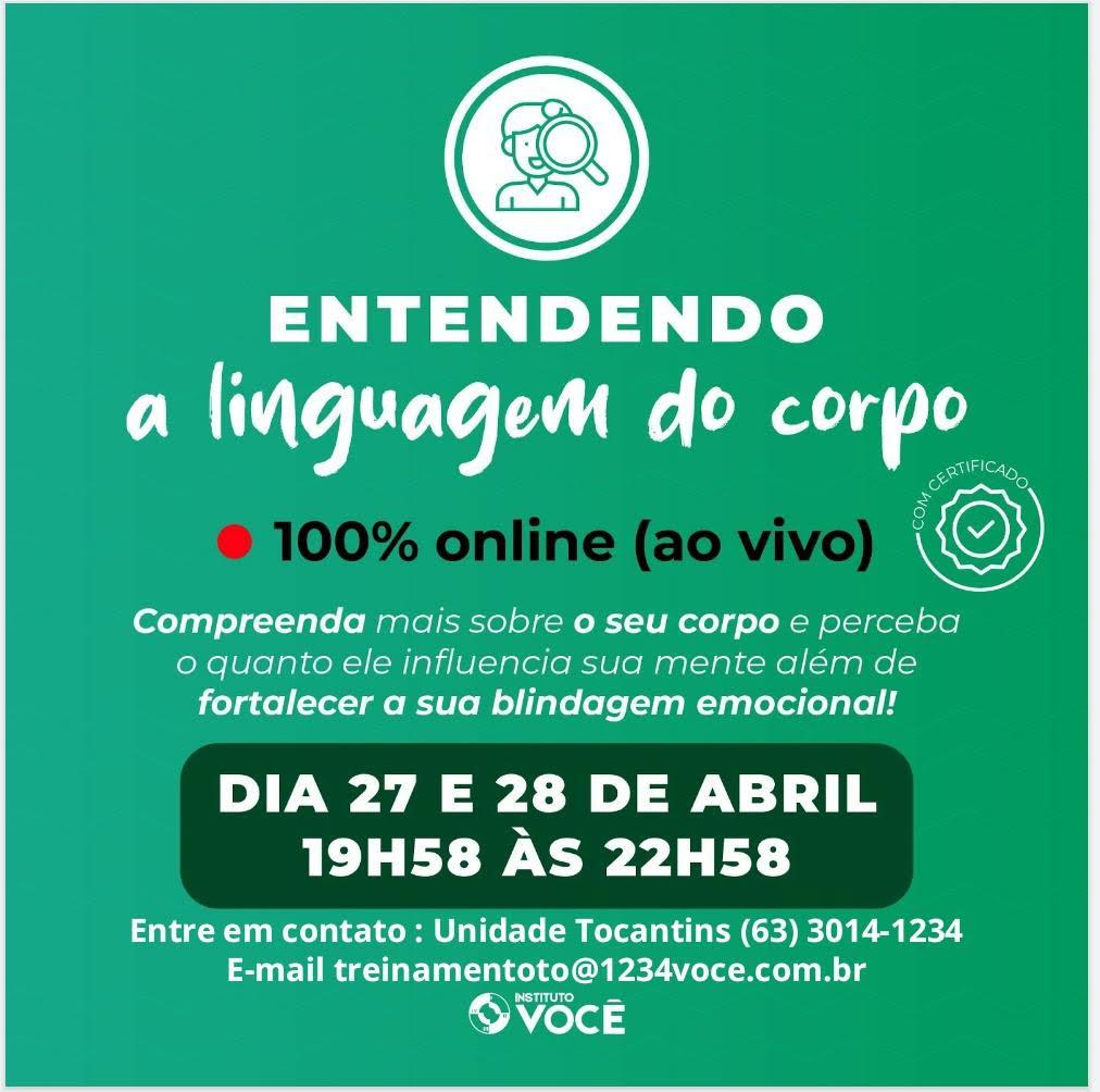 You are currently viewing Curso Entendendo a linguagem do corpo – Instituto Você Tocantins