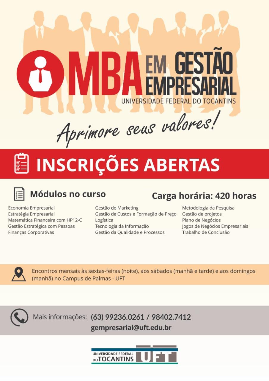 Read more about the article O MBA em Gestão Empresarial da Universidade Federal do Tocantins está com edital aberto