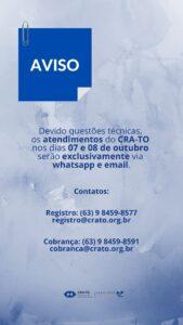 Read more about the article COMUNICADO: Atendimento do CRA-TO