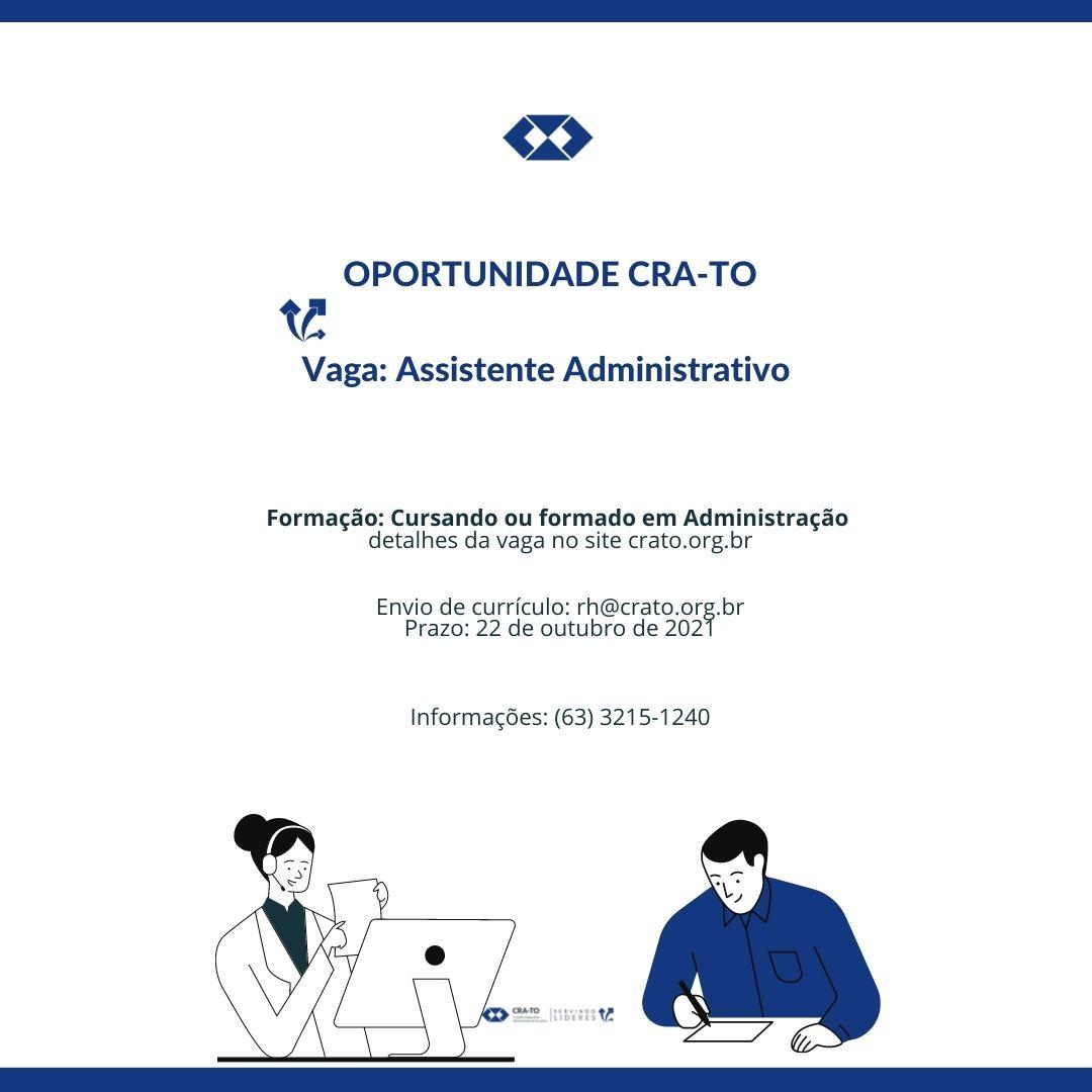 Read more about the article Vaga – Assistente Administrativo no CRA-TO